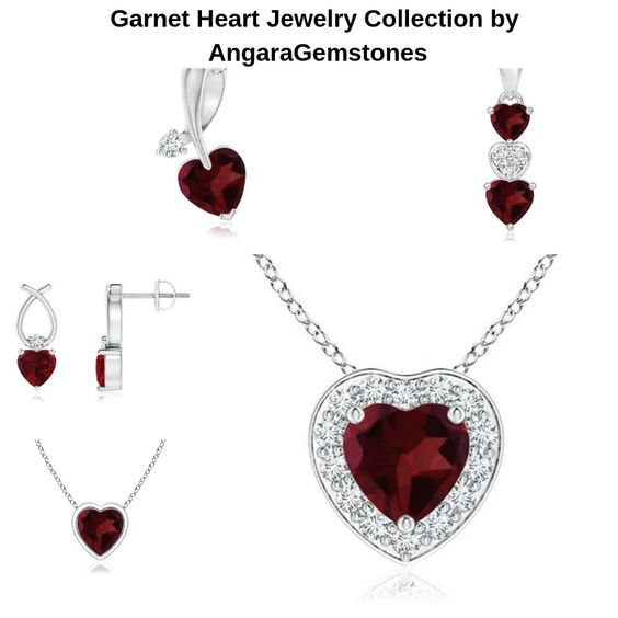 Garnet Heart Jewelry Collection by AngaraGemstones