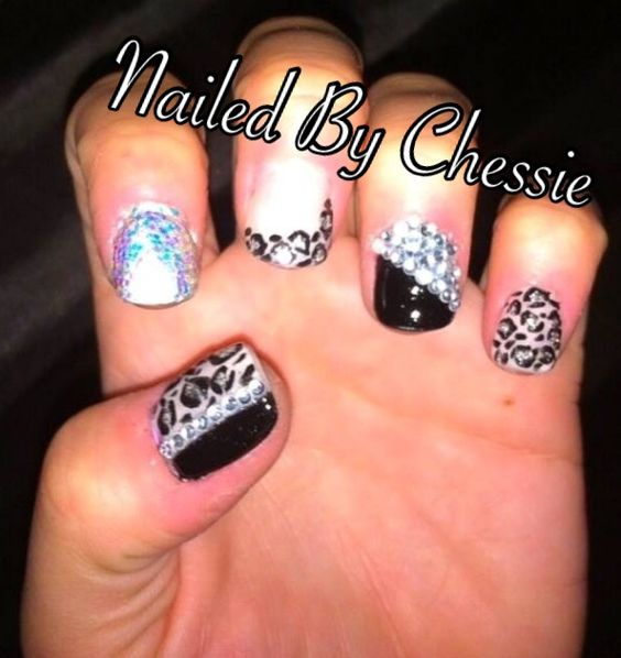 Black And Beige Nail Designs