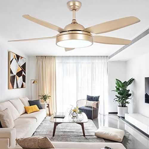 Tropicalfan Ceiling Fan Chandelier With Led Light And 5 Blades Champagne Remote Control For Home Decoration Living Room Bedroom 52 Inch Living Room Ceiling Fan Living Room Fans Ceiling Fan Chandelier