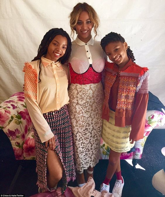 Beyonce was there to support teenage sister singing duo Chloe and Halle Bailey, aged 14 and 12, (pictured) whom she scouted. Last year the singer revealed she was taking them under her wing. On Monday, she was seen chatting with them, and they all posed for a picture: