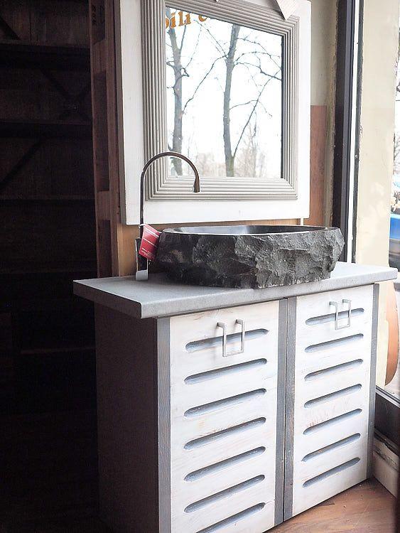 Mobile Bagno Grey Wood Con Lavello Granito Arredamento Etnico