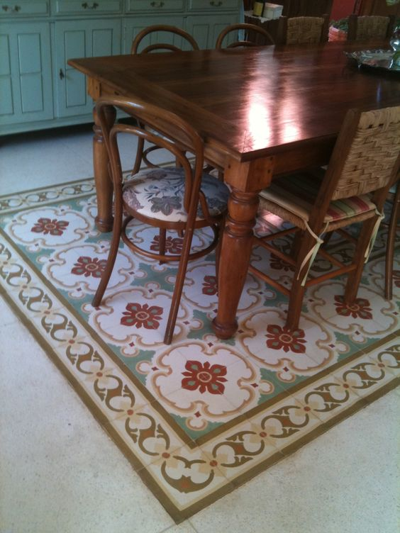 Tapete de ladrilho hidraulico colocar em baixo da mesa for Tapete mesa