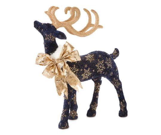 Winter Wonder Lane Gold Navy Standing Snowflake Deer Big Lots Blue Christmas Decor Christmas Deer Decorations Gold Christmas Decorations