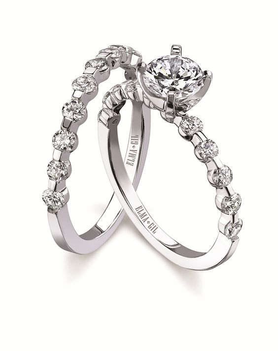 18kt white gold engagement ring by #ElmaGil Style # 245 #BuffaloBrides #ScherersJewelers