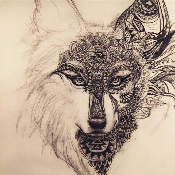 Dessin loup/renard, motifs mandala