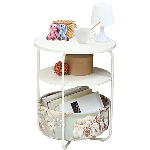 1208s 3 Tier Round Side Table End Table With Fabric Storage Basket For Small Spaces Bedroom Living R Round Rug Living Room Rugs In Living Room Round Side Table
