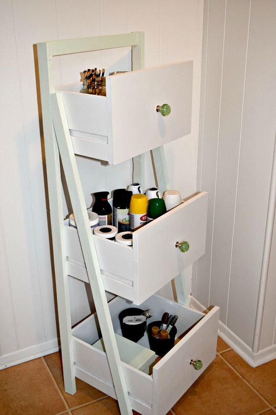 DIY Ladder Shelf From Old Repurposed Drawers :: use to hold unassigned fabric?