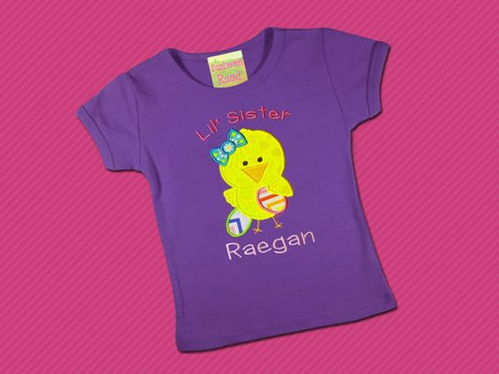 Easter Lil Sister Chick Girls Shirt with by SunbeamRoad on Etsy, $24.00