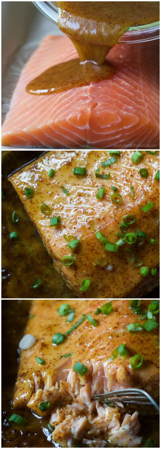 Dijon Maple Glazed Salmon - One of my favorite quick healthy dinner recipes, full of tangy sweet flavor from only 3 ingredients with a whooping 218 calories per serving!