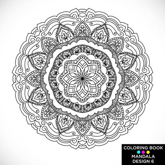 Mandala Round Floral Ornament On White Background Decorative Black And White Outline Print On T Shirt And Other Items White Floral Png And Vector With Transp Coloring Books Coloring Book Download Pink Pattern Background