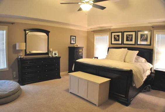 master bedroom with black and tan color palette like this