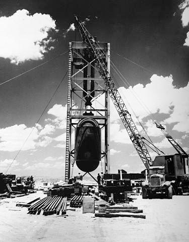 Trinity Bomb: The first atomic bomb is readied for testing near Alamogordo, New Mexico, in July 1945.