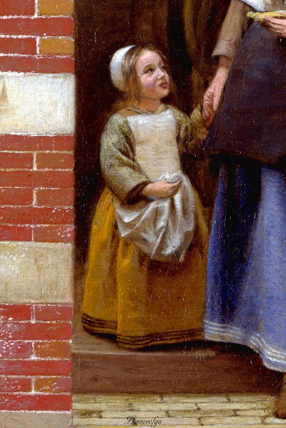"""The Courtyard of a House in Delft"" 1658 (detail) Pieter de Hooch  Pieter de Hooch [Dutch Golden Age, Baroque Era Painter, 1629-1684]     Oil on canvas  National Gallery, London"