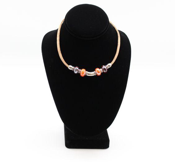Lisbon Orange Cork Necklace