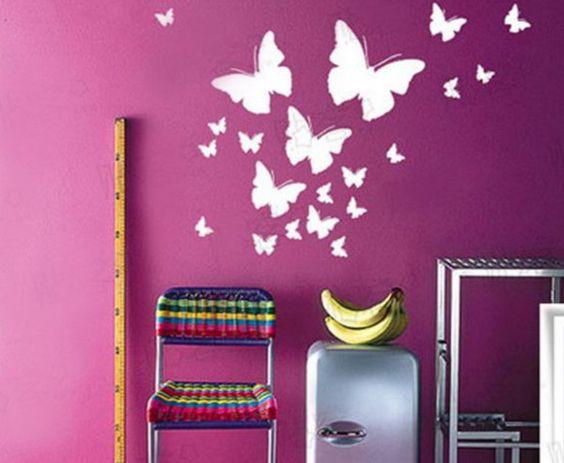 Butterfly Bedroom Decorating Ideas: Butterfly Wall Murals Art Ideas