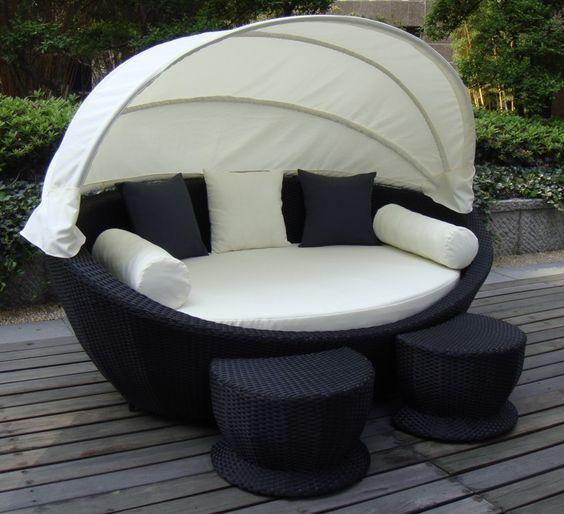 Super Cozy Outdoor Sofa With Canopy Wicker Outdoor