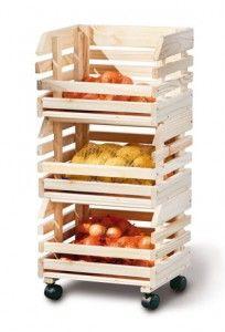 Carro para verduras de madera para la cocina pinterest - Cajones de fruta de madera ...