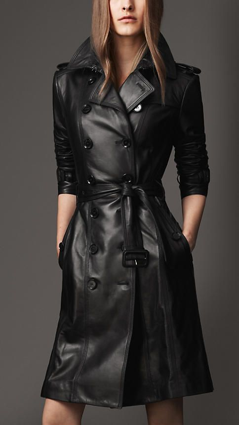 Trench-coat long en cuir d'agneau | Burberry