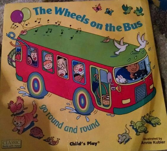 Twinn, The Wheels on the Bus, go round and round, rhyming, transportation, bus, wheels, singing, horn, people