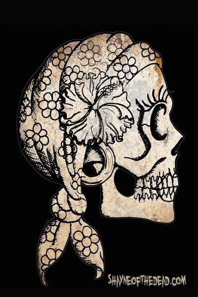 Gypsy Skull Drawing 4x6 Photo Print many sizes by ShayneoftheDead, $4.00