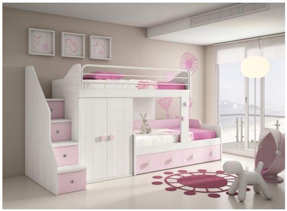 Cama tipo litera para ni a dormitorios juveniles - Cama para ninas ...