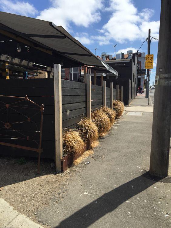 Exposed beams + painted horizontal timber