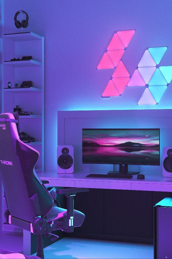 Rgb Triangle Lights For Battlestation Gaming Desk Setup Game Room Gamer Room Decor Gaming Room Setup