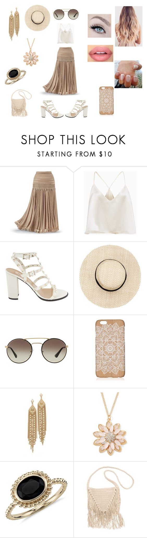 """""""Beige Babe"""" by roxy-crushlings ❤ liked on Polyvore featuring Prada, Sephora Collection, Capwell + Co, Mixit, Blue Nile and Billabong"""