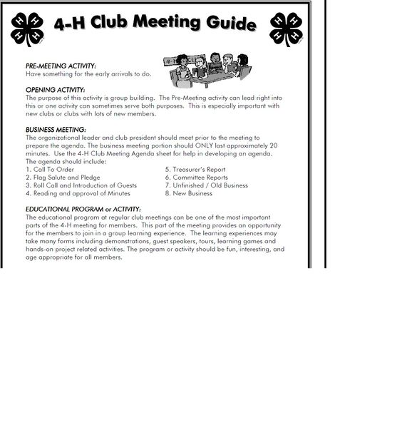 4 h meeting agenda template - Google Search 4H Pinterest - format for a meeting agenda