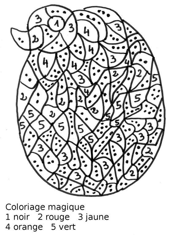 Maternelle: Coloriage magique maternelle, oeuf de Pâques avec poussin