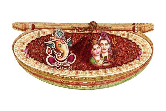 Traditional Multicolour Shiv-Parvati Wedding Card