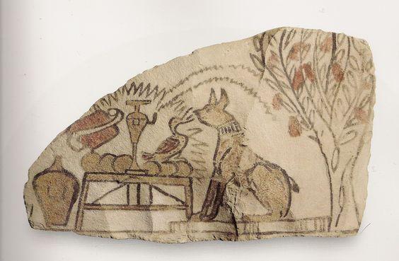 Ostracon figuré - une oie dit son fait à un chat.   L'art du contour - Le dessin dans l'Égypte ancienne.