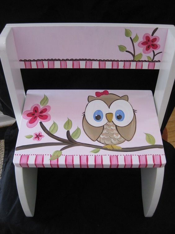 hand painted personalized flip chair step stool happy owl