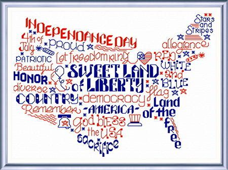 Lets be Proud, patriotic cross stitch pattern by Ursula Michael. View all of the fun 'Words' series online.: