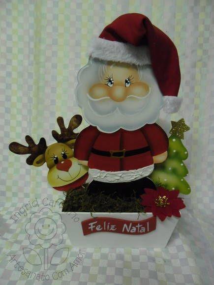 floreirão de noel com touca de tecido   Artesanatos Ingrid Carvalho   193E47 - Elo7