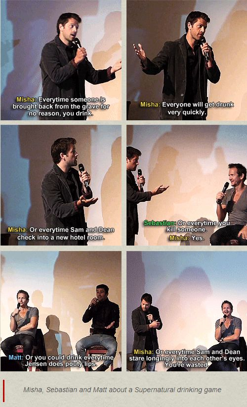 Misha, Sebastian and Matt about a Supernatural drinking game.... Oooh how about every time dean licks his lips??
