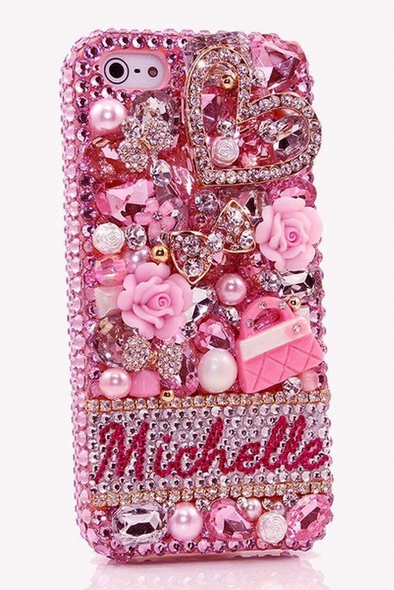 The Pink Purse Personalized Name & Initials iPhone 5C 5S bling ...