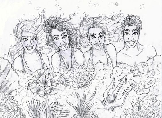 My drawing of the Mako Island Mermaids