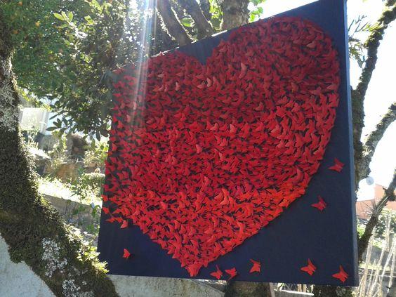 Quadro colagem borboletas! vermelho! Tela 60x70,