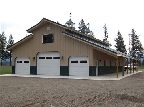 Pole buildings shop buildings monitor roof style for Monitor garage plans