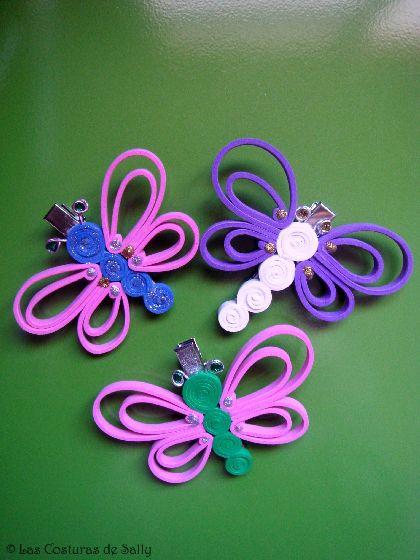 Hevillas para el pelo con mariposas realizadas en goma eva - Mariposas goma eva ...