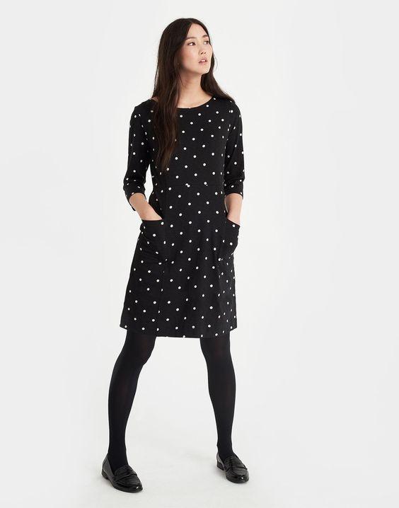 Jody Black Spot Pleated Dress   Joules UK