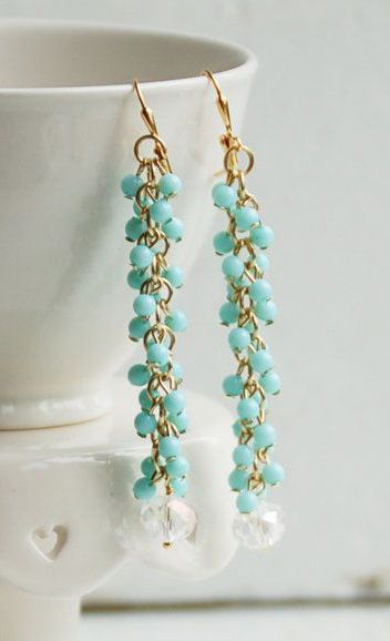 Aqua Fringe Chain EARRINGS Beaded Crystal Long