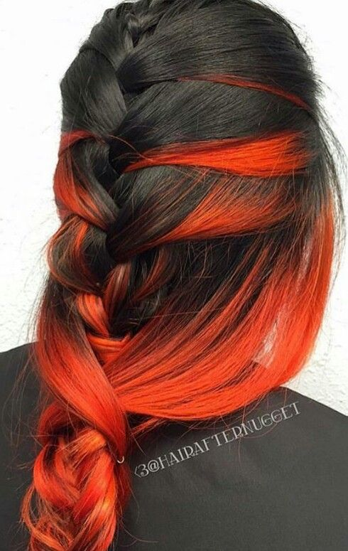 Red and black dyed hair color