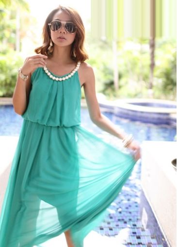 Stylish Womans Waist Elastic Chiffon Blue Dress With Pearls Embellished with cheap wholesale price, buy Stylish Womans Waist Elastic Chiffon Blue Dress With Pearls Embellished at wholesaleitonline.com !