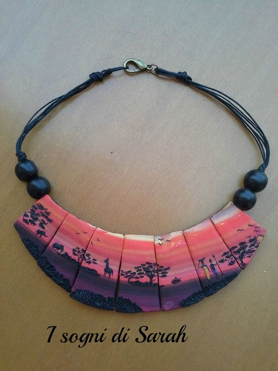 african landscape,necklace in polymer clay. paesaggio africano,tramonto in pasta polimerica