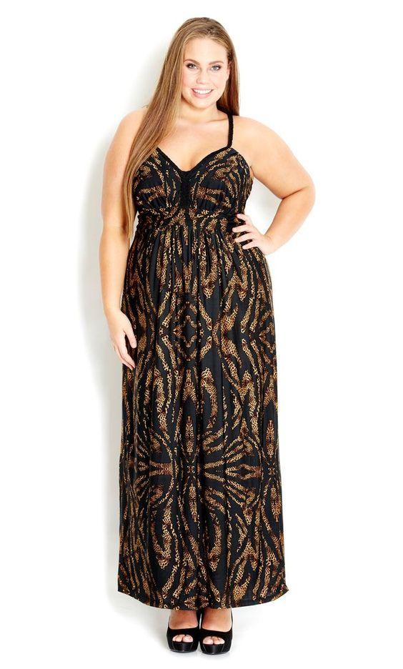 Plus Size Mirror Animal Maxi Dress