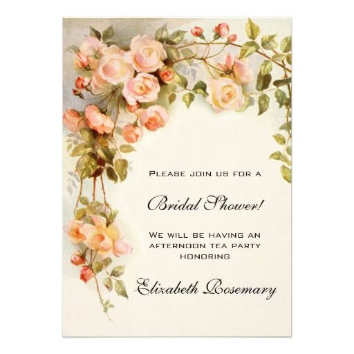 Vintage illustration nature design featuring a  an antique climbing rose with pink blossoms in bloom. ♥ More bridal shower invitations at http://www.zazzle.com/bridal+shower+invitations?ps=120&rf=238252963030229232&tc=wpz ♥