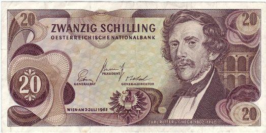 20 Schilling Carl Von Ghega Obverse Carl Ritter Von Ghega Wikipedia Money Games Vons Bank Notes