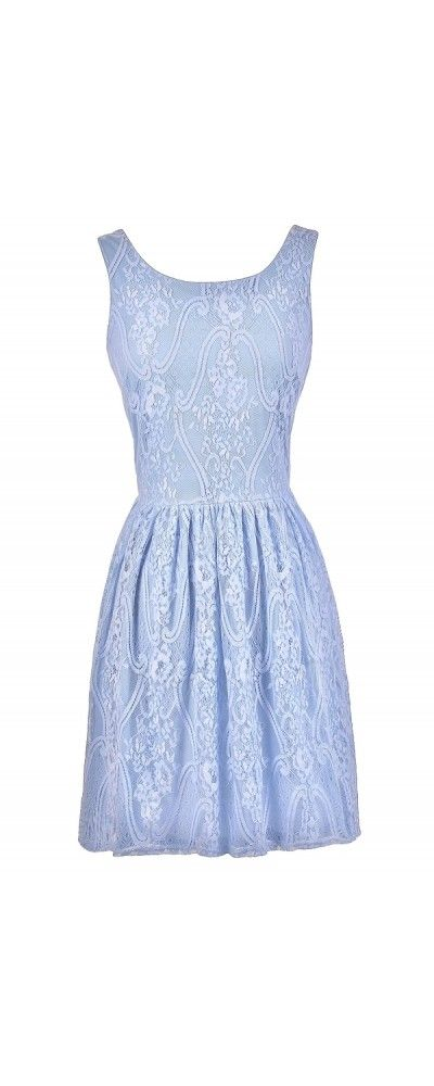 Periwinkle blue lace dresses and dress in on pinterest for Periwinkle dress for wedding